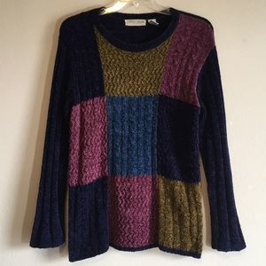 Sweaters - Vintage Chenille Colorblock Chunky Woven Sweater